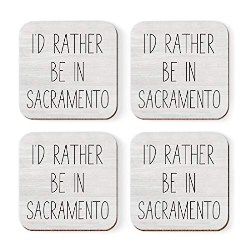 Andaz Press U.S. City Square Coffee Drink Coasters Gift, I'd Rather Be in Sacramento, California, 4-Pack, Long Distance College Going Away Study Abroad Birthday Christmas Gifts