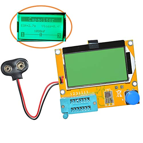 Aideepen Mega328 LCR-T4 Transistor Tester Diode Triode Capacitance LCR ESR Meter Module MOS PNP/NPN M328 (Battery Buckle)