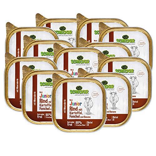Schecker 12 x 200g Hundemenü Junior mit 80% Rind mit Kartoffel Fenchel und Banane Spezielle Kost für Welpen in der Wachstumsphase