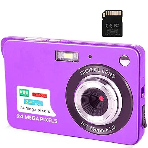 Cámara Digital, cámaras de Bolsillo FHD de 2,4 Pulgadas Cámara Recargable de 24 MP para mochileros con Zoom Digital 8X Cámaras compactas para fotografía Tarjeta SD de 32 GB incluida