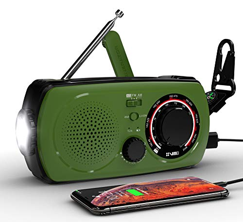 Emergency Weather Solar Hand Crank Portable Radio-VMEI NOAA Weather Radio with AM/FM,2300mAh Power Bank USB Charger,Flashlight,SOS Alarm.for Household and Outdoor Emergency Device(Green).