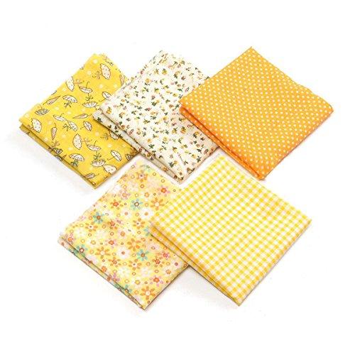 5pcs Baumwolltuch Baumwoll Stoff Quilting Patchwork das 50 x 50cm (gelb)