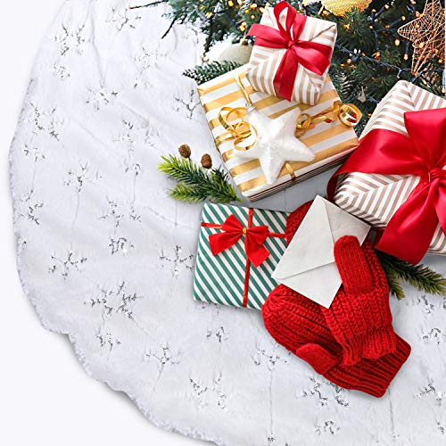 TOBEHIGHER Christmas Tree Skirt - Perfect for Christmas Decorations Indoor Outdoor, 48 Inches Large Snowy White Faux Fur Double Layers Tree Skirt, Soft Thick with Silver Snowy Pattern
