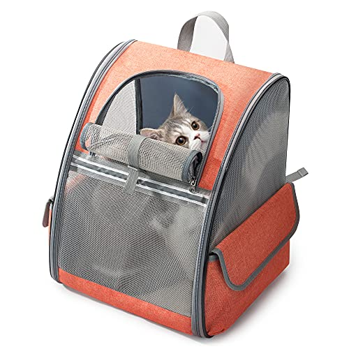 HIPIPET Cat Backpack Ventilated and Breathable with Treat Pockets for Travel Hiking Outdoor Use...