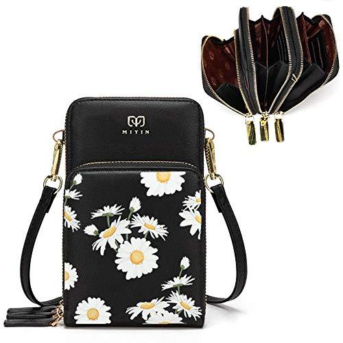 Jangostor kleine Crossbody Tasche Handy - Tasche Brieftasche mit Credit Card Slots für Frauen Gänseblümchen (Schwarz)