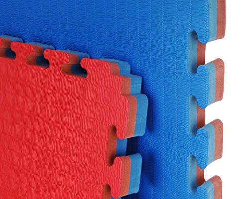 8 x Cannons ES 40mm Tatami Puzzle 40mm 1m x 1m x 4cm Suelo Tatami Puzzle Grosor 4 cm. Plancha de 1 m x 1 m. Borde Liso (Desmontable) (Rojo/Azul)