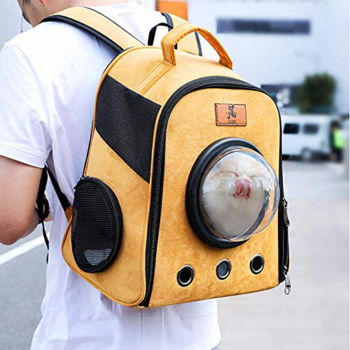NAN Mascota portátil Cápsula Espacial Mochila, múltiples respiraderos, Transpirable Mascota Mochila de Viaje, pequeño y Ligero Impermeable Bolso para Perros, Gato, Mascota Pequeño,Amarillo