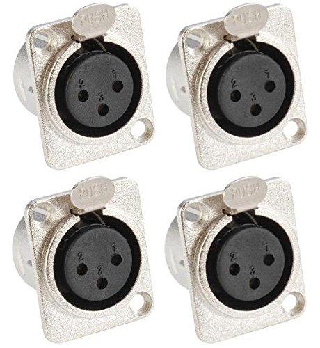 Adam Hall Connectors 7837-4er Set XLR-Einbaubuchse female 3-pol D-Typ silber Einbaukupplung