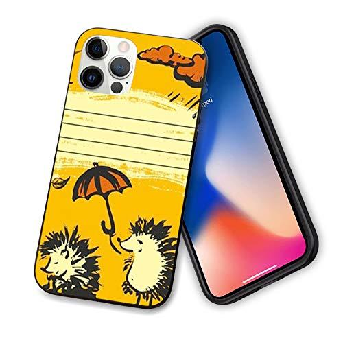 """Coque amusante compatible avec iPhone 12 2020 Motif 2 hérissons avec un parapluie et un nuage pluvieux et flexible en TPU pour iPhone 12 mini 5,4"""", jaune, orange foncé, noir"""