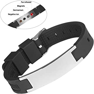 Silicone Stainless Steel Magnetic Sport Bracelet Power Balance with 4 Elements for Pain Relief Arthritis and Carpal Tunnel Adjustable