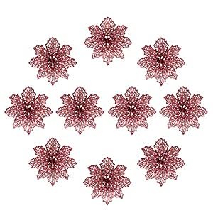 Christmas Tree Flowers, 12 Pcs Glitter Poinsettia Flowers, Artificial Poinsettia Christmas Ornaments,Decoration for Christmas Tree&Garland(Rose-Gold)