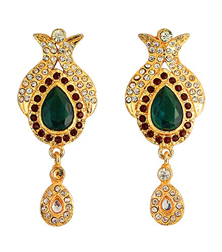 Touchstone verde y oro que cuelgan pendientes para las mujeres