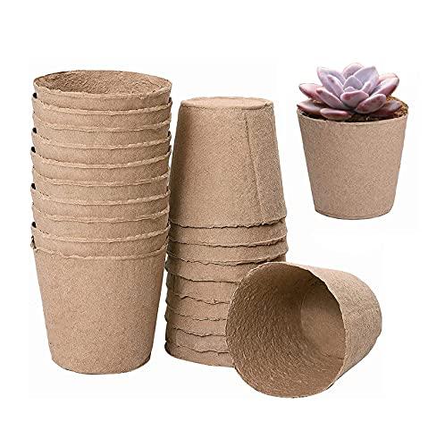 Macetas de fibra redondas, maceta de papel, reciclable (10 piezas)