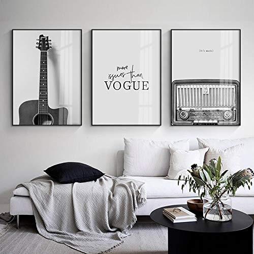 Música de la vendimia Pintura de la lona nórdica Decoración Arte de la pared Retro Negro Blanco Guitarra Disco de vinilo...