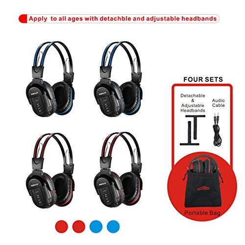 SIMOLIO 4 Pack of DVD Wireless Headphones, in Car Kids Wireless Headphones for Universal Car Entertainment System, Automotive IR Wireless Headphones, Note Will Not Work on 2017+ GM's or Pacifica