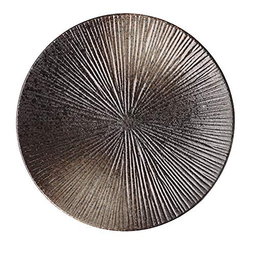 ELLENS Plato de Cena japonés a Rayas Vintage, Plato Redondo de cerámica de 8 Pulgadas / 10 Pulgadas, Apto para microondas y lavavajillas