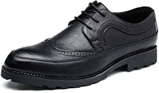 Bin Zhang Casual Oxfords for Men Dress Shoes Lace up Microfiber Leather Pointed Toe Brogue Carving Burnished Style Solid Color Stitched (Color : Black, Size : 8.5 UK)