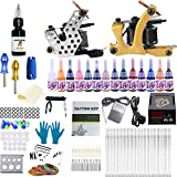 ANDNICE Tattoo Complete Starter Beginner Tattoo Kit 2 Pro Machine Guns 14 Inks Power Supply Foot Pedal Needles Grips Tips