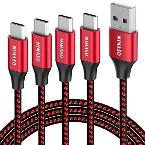 NIMASO Câble USB C [0.3M+1M+2M+3M/Lot de 4], Câble USB Type C en Nylon Tressé Chargeur USB C Charge Rapide pour Samsung Galaxy S10 S9 S8+, Huawei P20 P10 Mate 20, Google Pixel, Sony Xperia XZ,Rouge