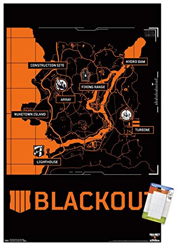 Trends International Call of Duty: Black Ops 4 - Blackout Map Wall Poster, 22.375' x 34', Poster & Mount Bundle