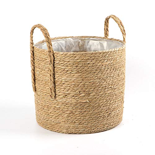 EBAYIN Natural Seagrass Basket, Foldable Storage Laundry Baskets Handmade Belly Basket Rattan Straw Basket with Handle for Storage Laundry Picnic Plant Pot,B-35 * 30CM
