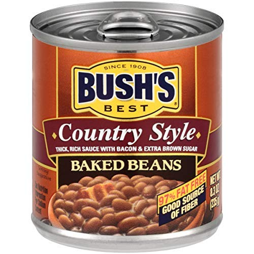 BUSH'S BEST Country Style Baked Beans, 8.3 Ounce (Pack of 24), Canned Beans, Baked Beans Canned, Source of Plant Based Protein and Fiber, Low Fat, Gluten Free