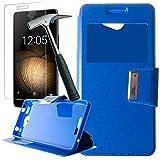 Todobarato24h Funda Libro Ventana Azul Compatible con BQ Aquaris U/U Lite+ Protector de Cristal Templado