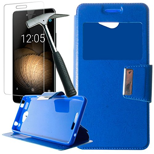 Todobarato24h Funda Libro Ventana Azul Compatible con BQ Aquaris U/U Lite+ Protector...