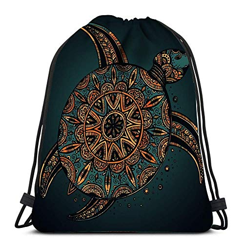 asdew987 Backpack Sports Gym Bag Colorful Doodle Turtle with Oriental Ornament Zentangle Tribal Stylized...