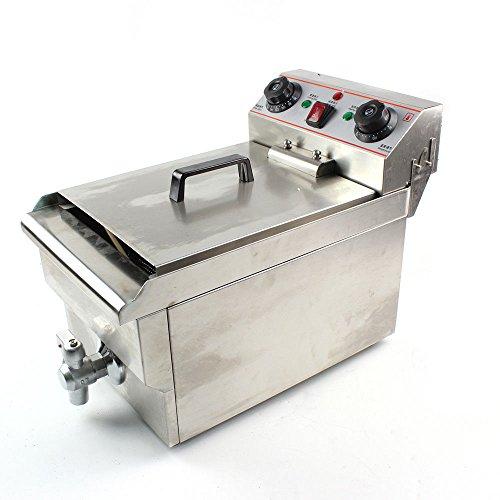 Freidora eléctrica de acero inoxidable, 10 L, zona fría, 3