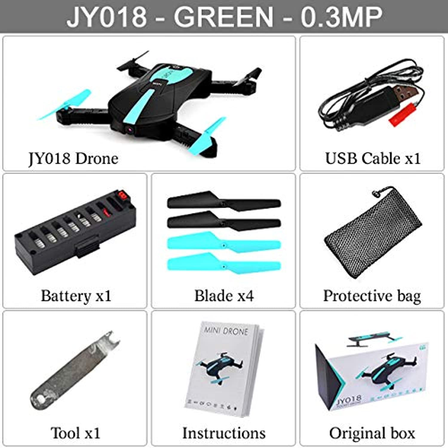 Generic JY018 Mini Foldable Selfie Portable Folding RC Drone FPV Pocket Quadcopter with Camera HD WiFi Altitude Hold Helicopter VS GW018 Green 0.3MP with Box