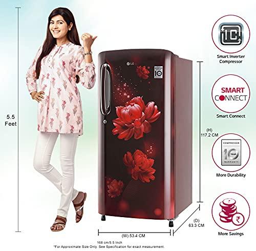 LG 190 L 4 Star Inverter Direct-Cool Single Door Refrigerator (GL-B201ASCY, Fastest Ice Making, Scarlet Charm)
