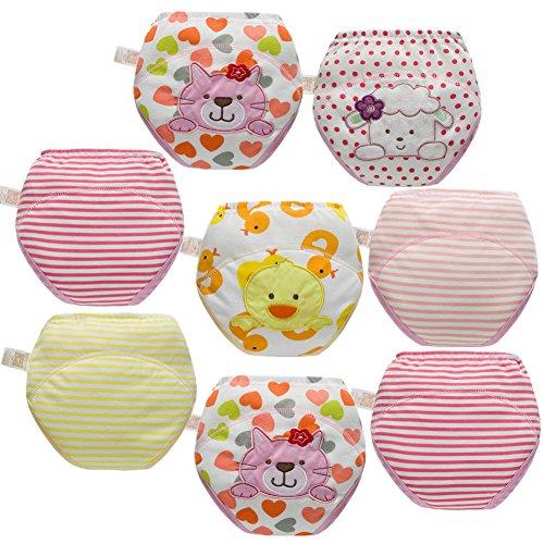 Skhls Couches Culottes d'apprentissage Lavable pour les Enfants 2-4 ans (3 ans, 8pcs Filles)