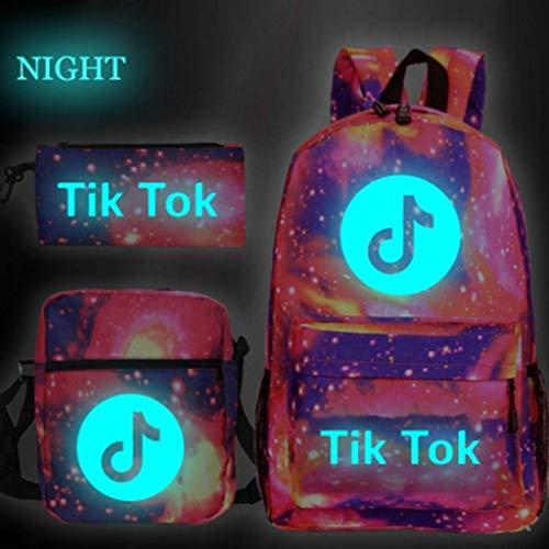 MISS YOU Rucksack Tik Tok Luminous Rucksack Verwendet als Student Rucksack, Laptop-Rucksack und zufälliger Rucksack Schultasche, 3-teiliges Set (Geschenk!) (Color : F)