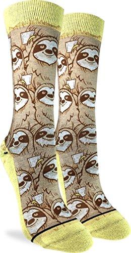 Good Luck Sock Women's Coffee Sloth Socks, Adult