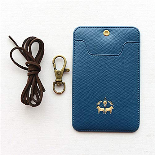 PU IC Card Cover,Candy Color IC Card Bus Card Cover Ketting Type Card Jas met Legering Gesp en Snoeren-6 Kleuren free size Donkerblauw