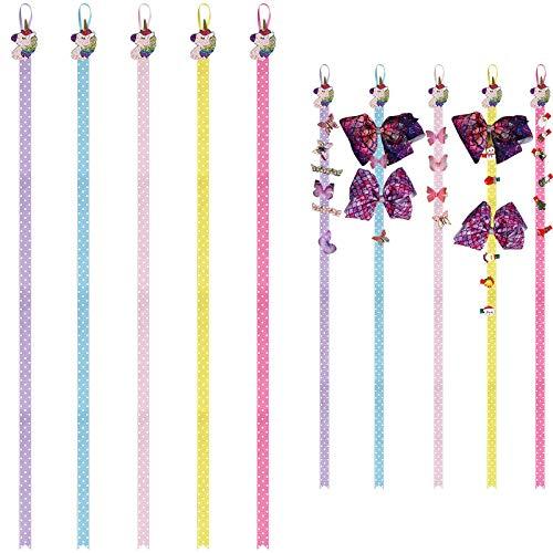 15 Pieces Hair Holder, Baby Girls Hair Pin Unicorn Holders 38.5 Inch Long Bow Holders for Baby Girls Elastics Hair Tie Headband Clip Hair Bows Organizer, 5 Colors