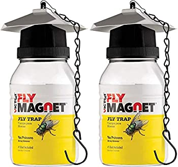 SEWANTA Victor M380 [Set of 2] Reusable Outdoor Fly Traps 32 oz - Fly Magnet Bait Trap - Made in USA - Bundled with 2 Bait Cebo and 2 Hanging Chains