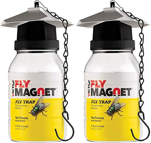 Victor M380 [Set of 2] Reusable Outdoor Fly Traps 32 oz - Fly Magnet Bait Trap - Made in USA - Bundled with 2 Bait Refills and 2 Hanging Chains