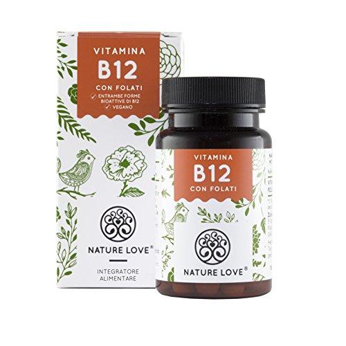 NATURE LOVE Vitamina B12-1000 µg. 180 compresse per sei mesi. Entrambe le forme bioattive del B12: metilcobalamina e adenosilcobalamina. Con folati bioattiva. Vegano, alto dosaggio, dalla Germania