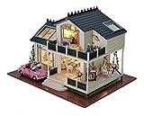 LEMOGO DIY Holz Puppenhaus Handwerk Miniatur Kit - Provence Villa Modell & Möbel & Voice Controller...