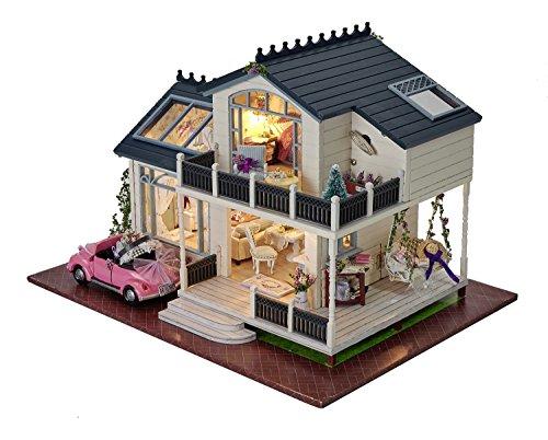 Kit per casa delle bambole fai da te in miniatura, in legno, fatta a mano, modello Villa in Provenza con mobili e carillon ad attivazione vocale