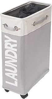 comfortez Slim Rolling Laundry Hamper Foldable Laundry Basket with Handle on Wheels (Beige Plus Light Grey)