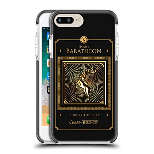 Head Case Designs Ufficiale HBO Game of Thrones Baratheon Border Sigilli Dorati Custodia Bumper in Gel Nera a Prova di Urti Compatibile con Apple iPhone 7 Plus/iPhone 8 Plus