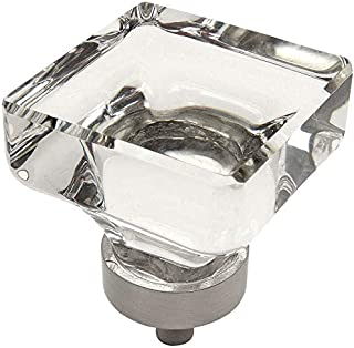 5 Pack - Cosmas 6377SN-C Satin Nickel Cabinet Hardware Square Knob with Clear Glass - 1-3/8
