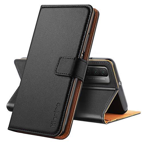 Hianjoo Hülle Kompatibel für Huawei P Smart 2021, Tasche Leder Flip Hülle Brieftasche Etui Handyhülle mit Kartenfach & Ständer Kompatibel für Huawei P Smart 2021, Schwarz
