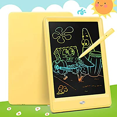 Bravokids Toys for 2-6 Years Old Girls Boys, LCD Writing Tablet 10 Inch Doodle Board, Electronic Drawing Tablet Drawing Pads, Educational Birthday Gift for 3 4 5 6 Years Old Boy and Girls (Yellow)