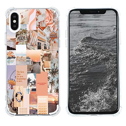 Case for iPhone X/XS, Vintage Vibe Collage Aesthetic Retro The Best Time Slim Case TPU Bumper Shockproof Protective Cover Case for Women Girls Support Wireless Charging