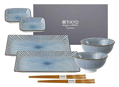 TOKYO design studio, Sendan Tokusa Blue, Sushi Set, 8teilig. 2 Sushi Platten, 2 Reisschalen, 2 Saucenschalen, 2 Paar Holz Chopsticks. Sushiteller Porzellan Set.