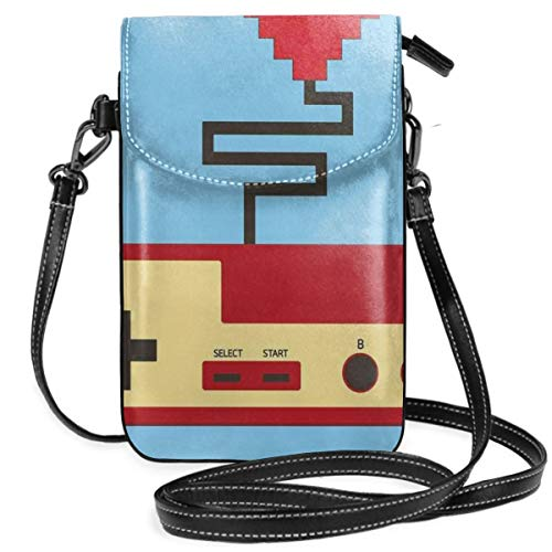 Women Small Cell Phone Purse Crossbody,Pixel Art Style Heart Connected To A Controller With Simplistic Design